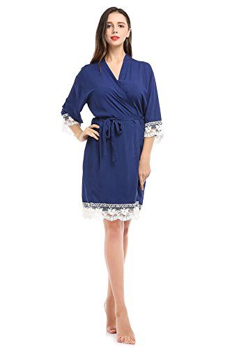 Lihuang Women Cotton Lace Pajamas Robe Sexy Bridesmaids Nightwear (Chenille Robe Vintage)