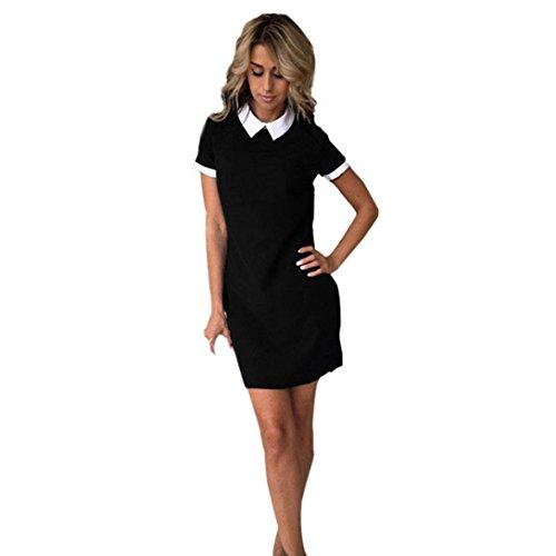 Minetom Sommerkleid Damen Polo Kleid Kurzarm Cocktailkleid ...