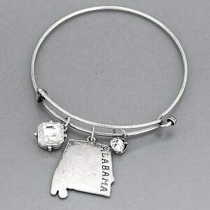 Silver State of Alabama Clear Stone Charms Dangling Simple Bangle Bracelet Fashion Jewelry for Women Man