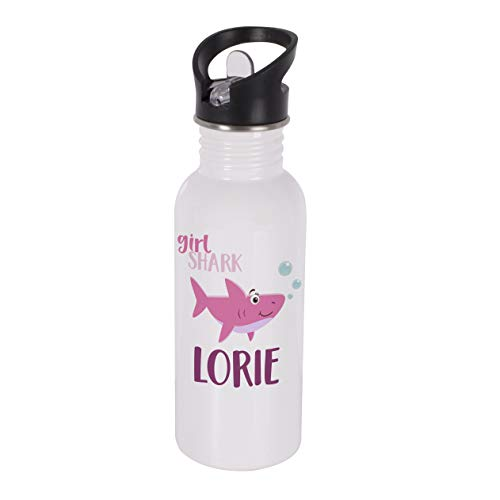 (Personalized Water Bottle Shark with Name - Stainless Steel Double Wall Water Bottle with Straw and Lid 600ml 20oz - Cold or Hot Drinks - Birthday Gifts, Girl Shark)