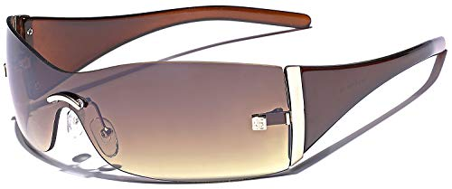 (Women's Rimless Shield Fashion Statement Sunglasses (Brown | Gradient Brown, 157))