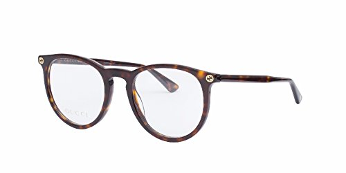 Gucci GG 0027O 002 Havana Plastic Round Eyeglasses 50mm by Gucci