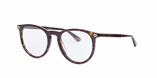 Gucci GG 0027O 002 Havana Plastic Round Eyeglasses - For Eyeglasses Women Gucci