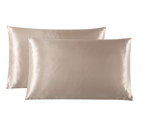 Lovescabin Two-Pack Satin Pillowcases Set for Hair and Skin Standard/Queen Size 20x30 Taupe Camel Pillow Case with Envelope Closure (Anti Wrinkle,Hypoallergenic,Wash-Resistant) - Satin Pillowcase Hair
