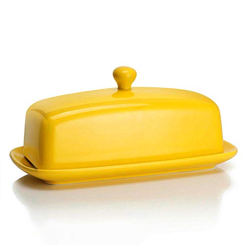 Sweese 3176 Porcelain Butter Dish with Lid, Perfect for East/West Butter, - Dish Solid Butter