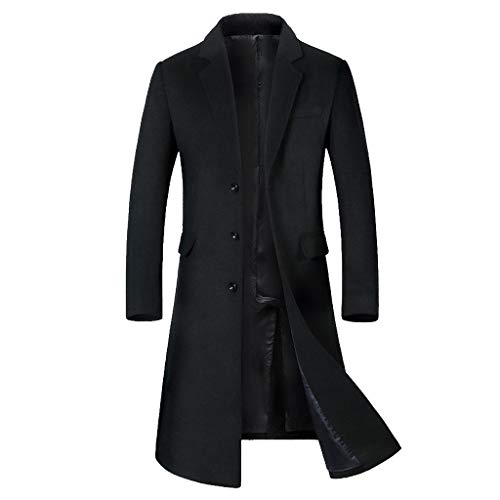 GREFER-Mens Trench Coat Stylish Slim Fit Long Jacket Classic Notched Collar Single Breasted Big and Tall Winter Coats Black