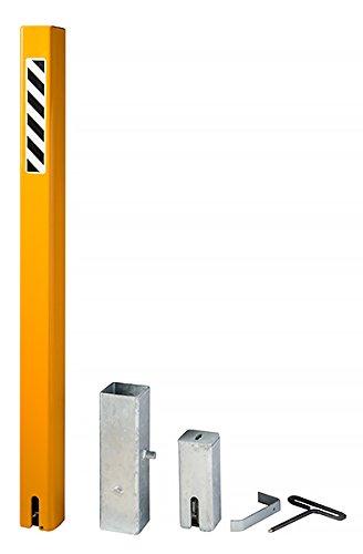Bollard Warehouse Helix Lock Square Post (US Patent 8,297,873) Removable Steel Security Bollard - Yellow
