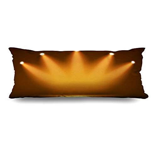 Ahawoso Body Pillows Cover 20x60 Inches Clubbing Yellow Light Spotlight On Stage Your Abstract Orange Fame Hall Celebration Dark Reveal Decorative Zippered Pillow Case Home Decor Pillowcase
