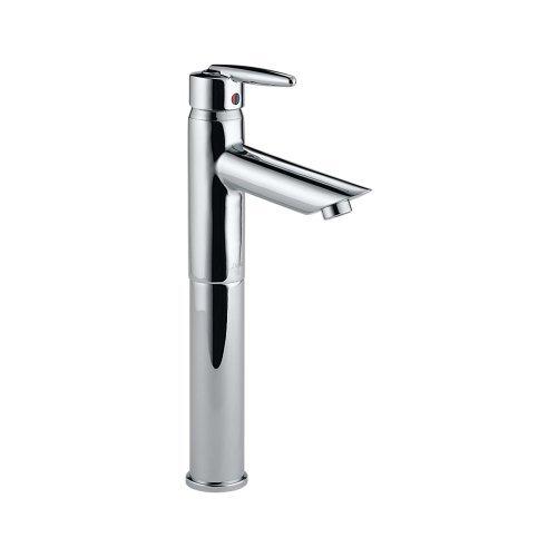 Delta 585LF-VCSLPU Grail Single Handle Centerset Bathroom Faucet with Riser - Less Pop-Up, Chrome