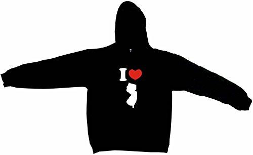 I Heart Love New Jersey Silhouette Men's Hoodie Sweat Shirt XXXXXL (5XL), Black