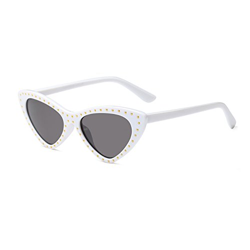 Glasses style Mujeres Inlefen Cat Small Frame Gris Eye Blanco Triangle Vintage Sunglasses Sun Todo Mod PX55qxSf