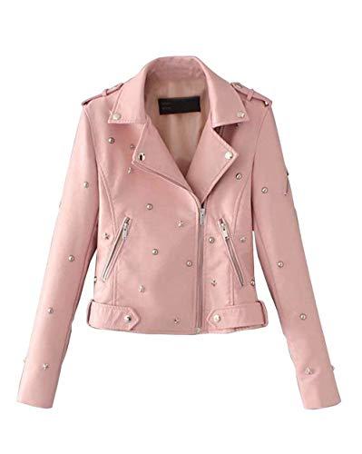 Cerniera Tasche Unico Bavero Donna Pink Lunga In Elegante Giaccone Women Similpelle Di Pelle Laterali Manica Rivetto Invernali Moda Con Giovane Giacca Bomber qx6TZw74q