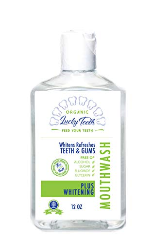 Lucky Teeth Organic Mouth Wash - Plus WHITENING - Whitens, Refreshes. Food Grade Peroxide + Essential Oils. 12 OZ