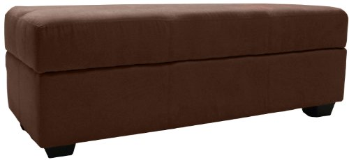 Traditional Upholstered Ottoman - Epic Furnishings Microfiber Suede Upholstered Tufted Padded Hinged Storage Ottoman Bench, 48 by 19 by 18