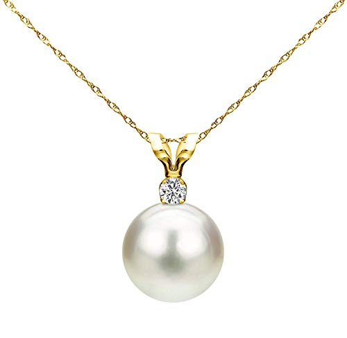 Necklace Pearl Cultured Twisted (14K Yellow Gold 1/100 Ct Diamond & White 7-7.5mm Freshwater Cultured Pearl Pendant Necklace (G-H, SI1-SI2), 18