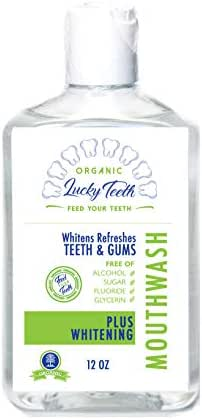 Lucky Teeth Organic Food Grade Peroxide MouthWash - Plus WHITENING - Whitens, Refreshes. Food Grade Peroxide + Essential Oils. 12 OZ