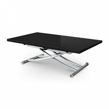 Table basse relevable extensible noir laqué 8 places STUDIO: Amazon ...