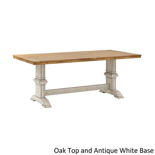 (Inspire Q Eleanor Two-Tone Rectangular Solid Wood Top Dining Table by Classic Antique White Antique, Oak Finish, Cream Finish, Distressed, Off-White)