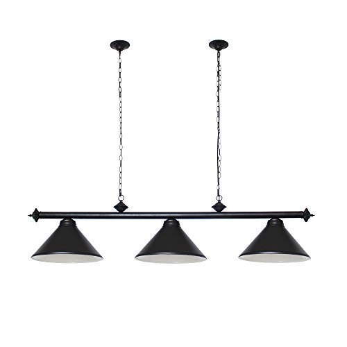 Chende Pool Table Lights for 8'/9' Table with 3 Metal Shades, Billiard Lamp for Man Cave, Game Room, Restaurant or Dining Room (Black)
