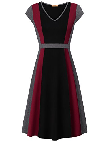 MCKOL Women's Elegant A Line Cap Sleeve V Neck Empire Waist Flattering Cocktail Dress (Black, ()