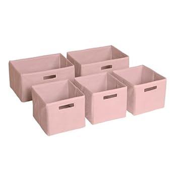 Guidecraft Set Of 5 Storage Bin   Cubes, Kidu0027s Toy Organizer Pink
