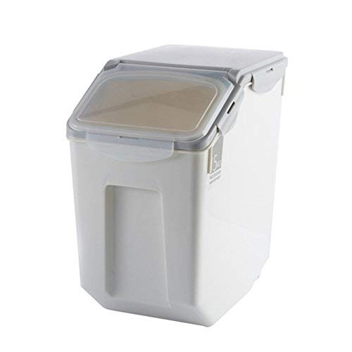 Simple Plastic Kitchen Rice Box Sealed Pest Control Moisture Storage Barrels Meter Cylinder For Rice, Flour (33Ib / 80 cup)