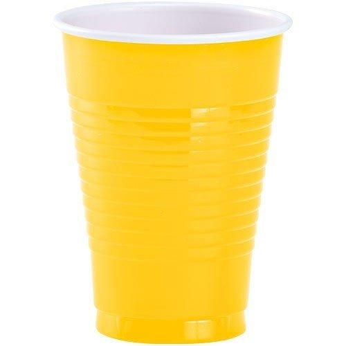 JF World Sunshine Yellow Plastic Cups 16oz 50ct