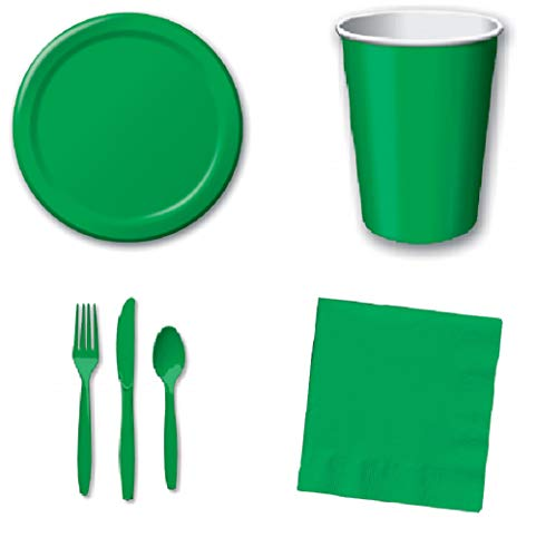 196 Pcs Premium Quality – Graduation Bulk Disposable Party Supply for 24 Guests   Emerald Green 6.7″ Plates, 8.7″ Plates, Cups, Beverage Napkins, Luncheon Napkins & Knife Spoon & Fork Cutlery