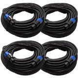 Seismic Audio TW12S75FourPack 12 Gauge 75-Feet Speakon to Speakon PA/DJ Speaker Cable