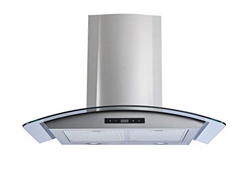 Winflo 30 Wall Mount Stainless Steel/Tempered Glass Convertible Kitchen Range Hood with 450 CFM Air Flow LED Display Touch Control, Aluminum Filters and LED Lights