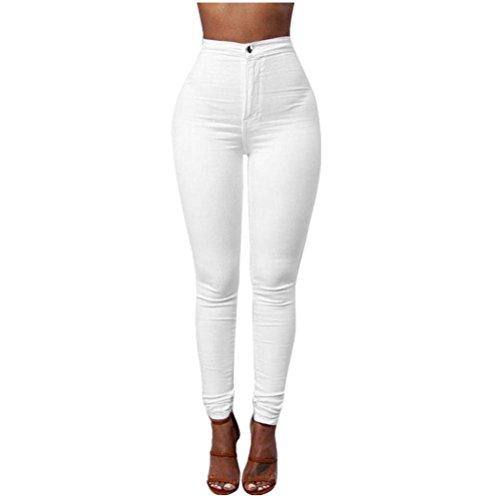 Sky Mujeres Denim Jeans Chica Casual Pantalones Vaqueros Cintura los Pantalones del lápiz del Estiramiento (L, Blanco)