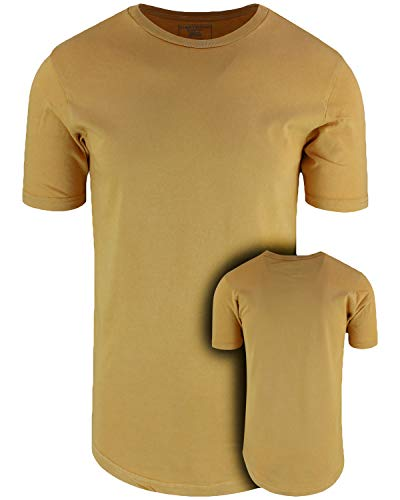 (ShirtBANC Mens Hipster Hip Hop Long Drop Tail T Shirts (Vintage Mustard, S))