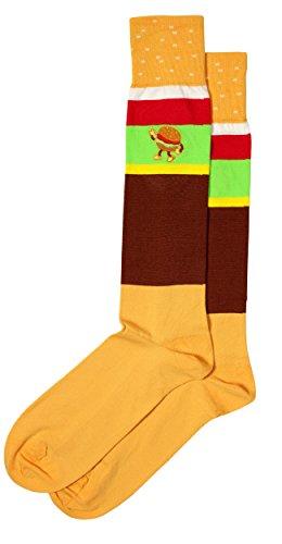 Embroidered Pima Cotton Socks - Hamburger Themed Embroidered Men's Pima Cotton Dress Socks, Full Calf