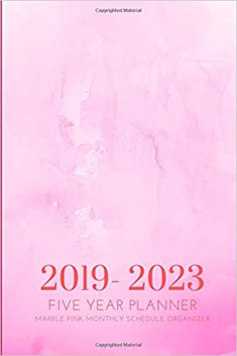 2019-2023 Five Year Planner Marble Pink Monthly Schedule ...