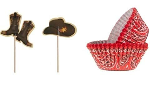 24 Cowboy Hats and Boots Cupcake Toppers and 50 Red Bandana Baking Cups Bundle | Country Western Rodeo Birthday Party Supplies for Boys -