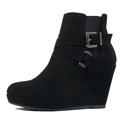 Bootie Womens Guilty Platform Wedge Heart Heel Zipper Comfortable Boot Nubuck Blackv3 Mid Ankle zcUq5Rygq