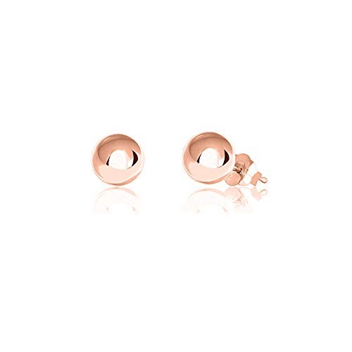 (Verona Jewelers Womens Sterling Silver Post Ball Stud Earrings- Bead Ball Stud Earrings for Women 2-12MM (9) (Rose Gold,)