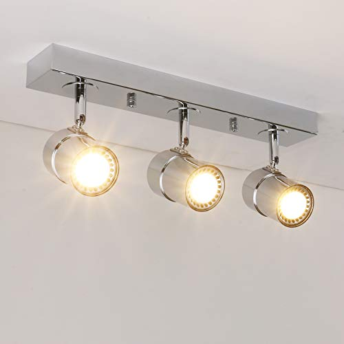 Pathson Vintage Style Tracking Lighting, 3 Lights Indoor Ceiling Light Fixtures, Chrome Antique Finished Hanging Spotlights (Chrome) (Lighting Fixtures Store)