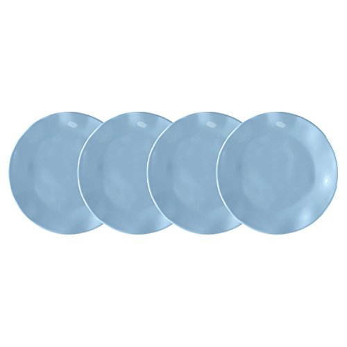 Small Bread Plate (Q Squared Ruffle Melamine Appetizer Plate, 5-1/2-Inches, Set of 4, Mist Blue)