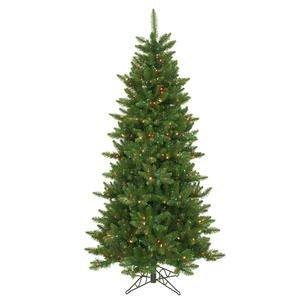 Vickerman Pre-Lit Camdon Fir Slim Tree with 550 Multicolored Dura-Lit Lights, 6.5-Feet, Green