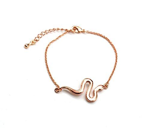 BC1225E - Bracelet Fine Chaîne avec Charm Serpent Métal Or Rose - Mode Fantaisie