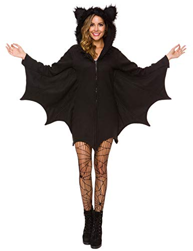 Women's Vampire Halloween Costumes (Halfjuly Halloween Costume for Women Bat Cozy Black Animal Adult Cosplay Vampire Zipper Dress)