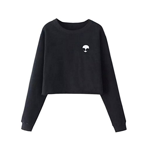 Autumn Lady Alien Blouse Women Crop Print Top Long Casual Sweatshirt Fleece Sleeve Yalatan Pullover Black Coat dU0qCwq