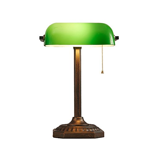 Xiangyu Traditional Style Antique Banker's desk lamp Retro metal and green Glass shade,table lamp for Living room bedroom office study Reading ()