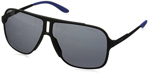 Carrera Men's Ca122s Rectangular Sunglasses, Black Shiny Matte/Gray Blue, 61 - Safilo Sunglasses By Carrera
