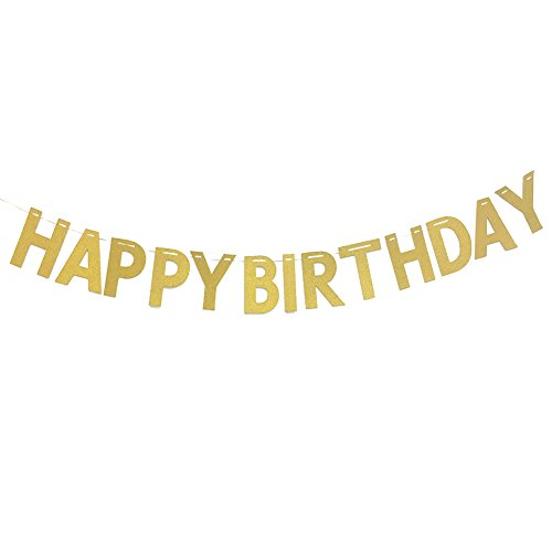 Fulol Gold Glitter Happy Birthday Banner Flags Signs for Birthday Party Decorations for $<!--$7.99-->