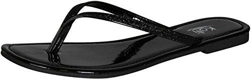Kali Footwear Women's Focus Glitter Flip Flops, Black 8