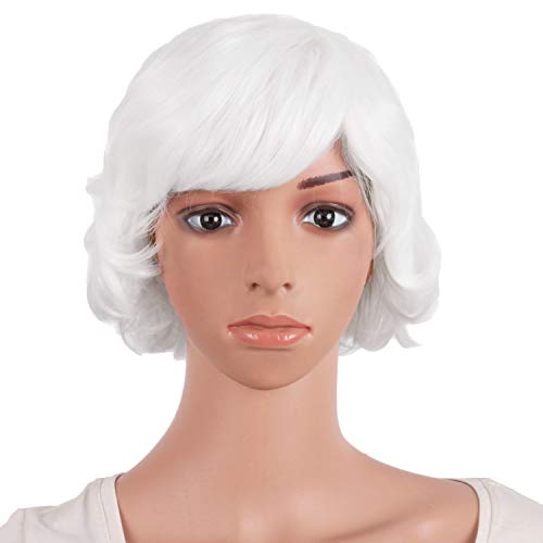 Short White Curly Wig (MapofBeauty 10 Inch/25cm Special Women Short Curly Side Bangs Fashion Wig)
