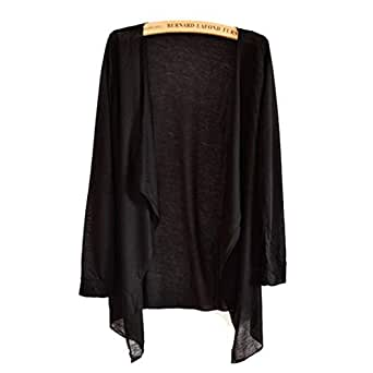 Oguine Women Casual Long Sleeve Ultra-Light Sun Protection Air Conditioner Cardigan Cover-Ups Black