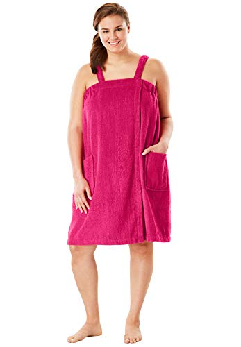 - Dreams & Co. Women's Plus Size Terry Towel Wrap - Pink Burst, 26/28